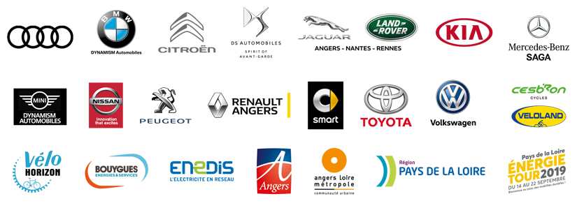Logos des concessionnaires, distributeurs et partenaires du salon du véhicule électrique 2019